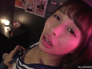 Amateur Japanese chick Oto Sakino spreads her legs to ride