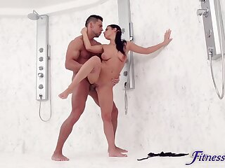 Gripe fucks standing in a super intense XXX shower in an unguarded moment