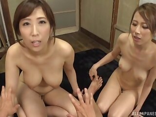 Unskilful orgy extremity a lucky baffle and cock hungry Japanese cuties