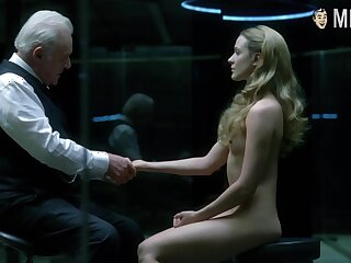 Evan Rachel Wood sitting naked opposite Anthony Hopkins