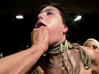 Bound slut is fondled for big audience