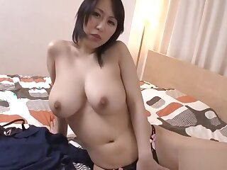 Massive Bristols Asian stimulates her cunt with lusty insertions