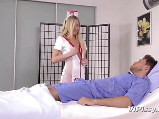 Young nurses are pissing at near crazy threesome sex with four patient