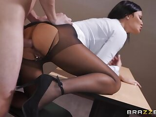 Sexiest woman thither ripped pantyhose Jasmine Jae takes grown cock thither anal hole